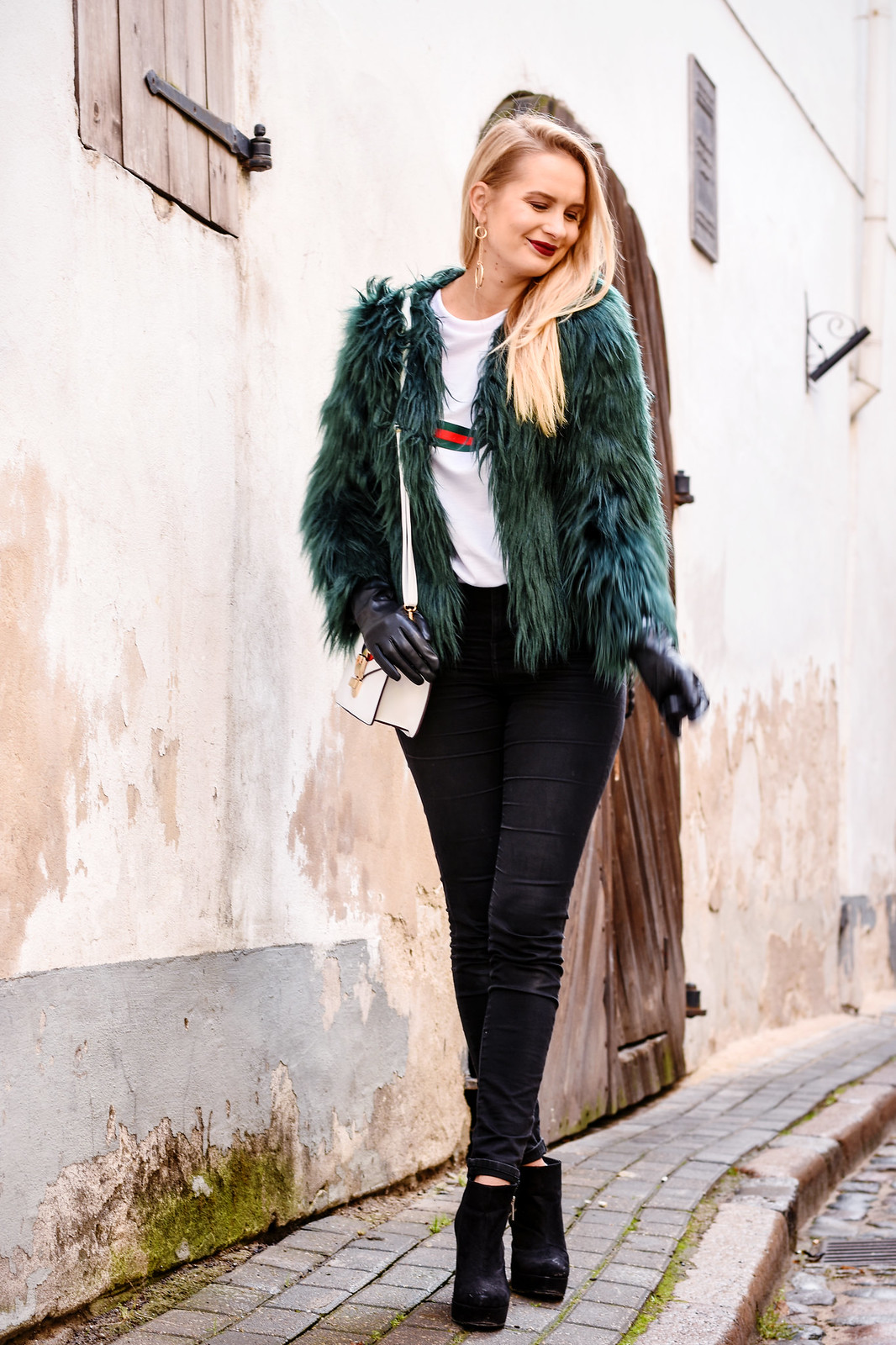 Styling a green faux fur jacket