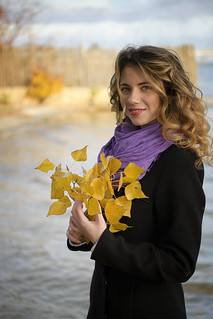 Portrait with yellow leaves