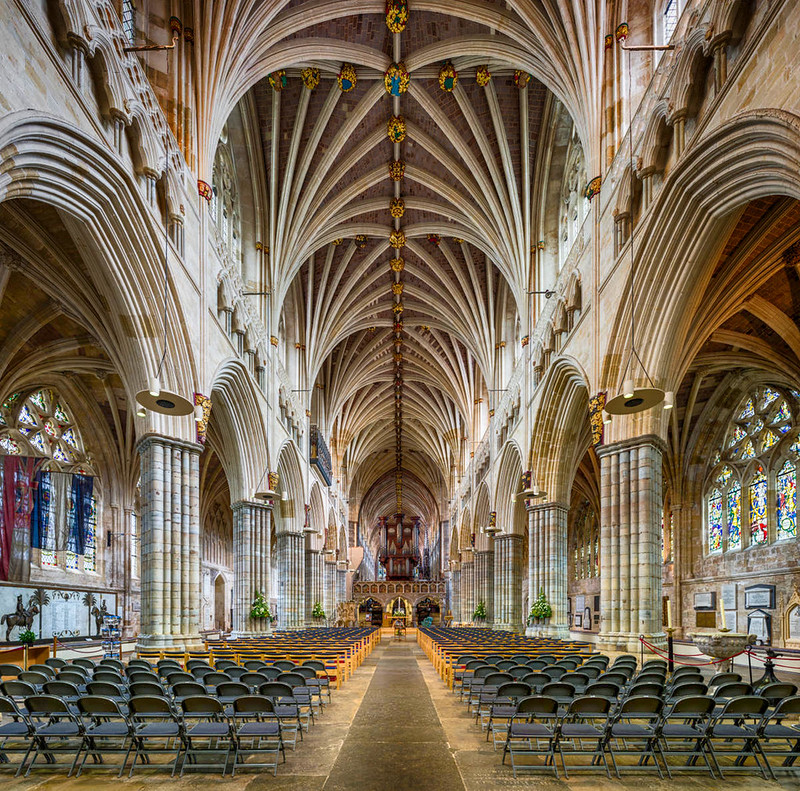 Exeter Cathedral Nave. Credit David Iliff