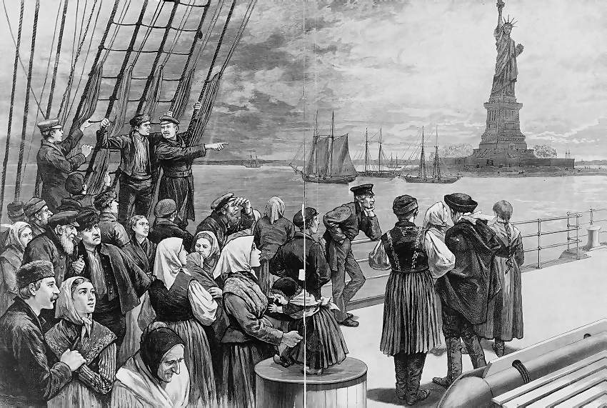 Irish immigrants arrive in New York Harbor, viewing the Statue of Liberty prior to landing and processing at Ellis Island.