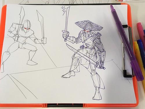 Evil #ninjas lurking on rooftops #samurai #ninja #yokai #drawing class