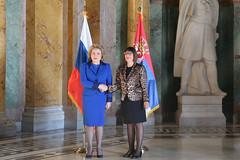 Председатель Совета Федерации Валентина Матвиенко и Председателем Народной скупщины Республики Сербия Майя Гойкович