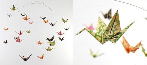 Giant Washi Paper Crane Mobile