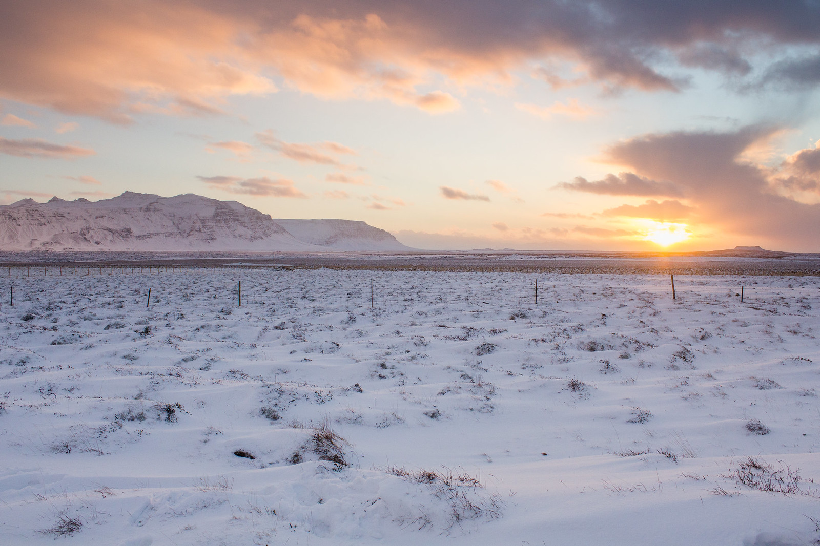 Midday sunrise at the Snaefellsnes Peninsula during December