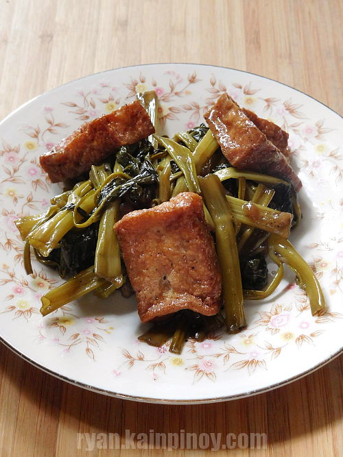 tofu and kangkong with oyster sauce stir fry recipe
