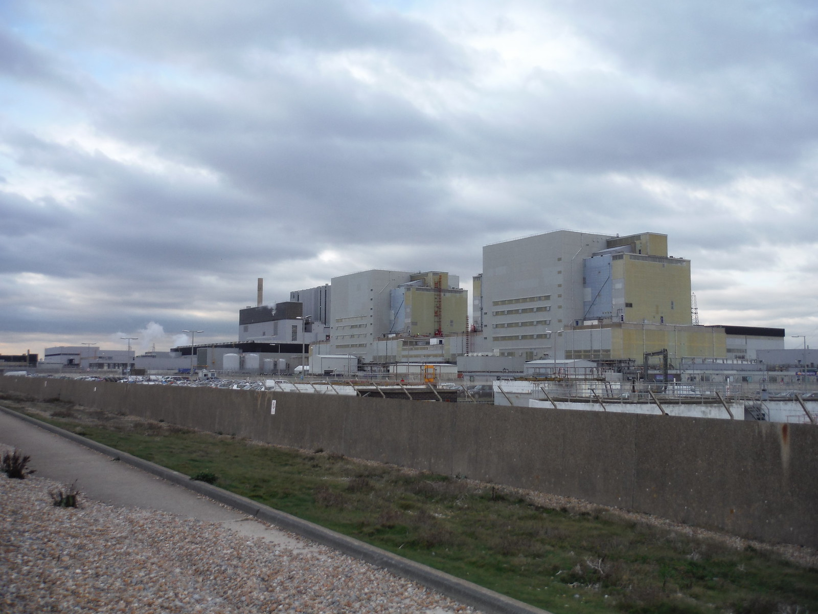 Dungeness Power Plant, from Tsunami Defence Shingle Wall SWC 154 - Rye to Dungeness and Lydd-on-Sea or Lydd or Circular