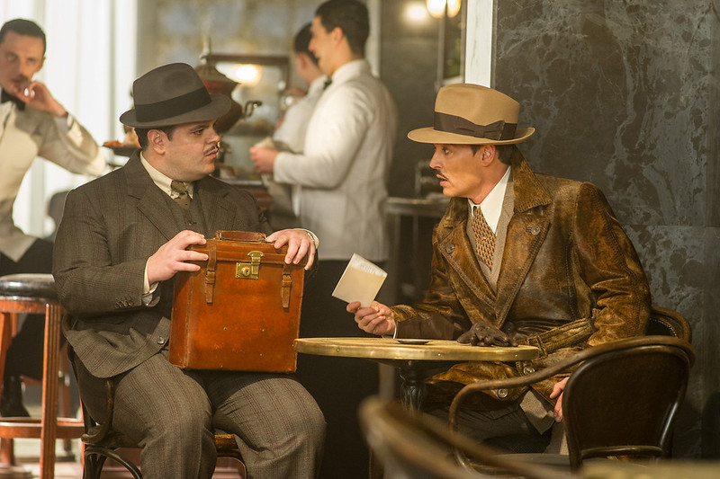 josh gad and johnny depp in MURDER ON THE ORIENT EXPRESS