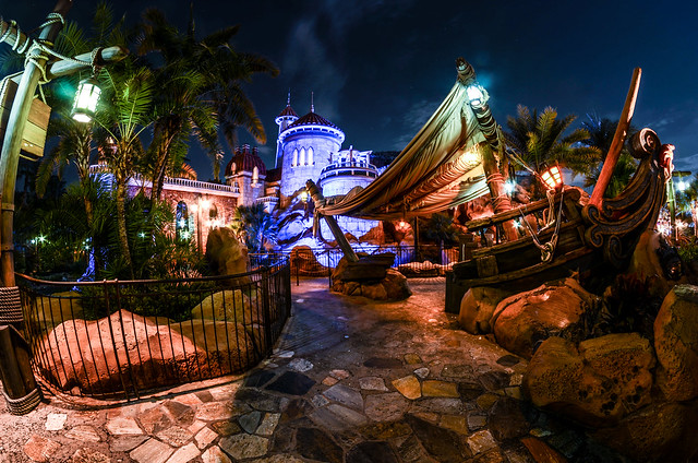 Little Mermaid castle back away MK night
