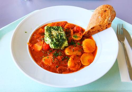 Codfish scilian style with tomato ciabatta / Kabeljau auf sizilanische Art mit Toamten-Ciabattabrot