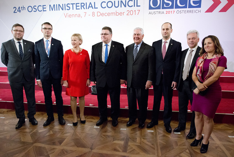 Secretary Tillerson Poses for a Photo With Friends of Georgia Group at OSCE in Austria