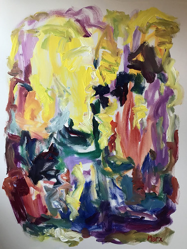 Susan Marx, Yellow Burst, 2017, 48x36, acrylic on canvas