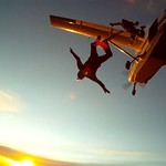 Beautiful sunset for to make your100th skydive with Ken Bernek and Chris Bohn at Midwest Freefall Sport Parachute Club.  Photo taken by experienced skydiver of Tony Crimando.