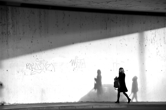 One woman, two shadows