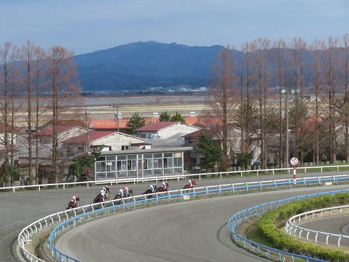 金沢競馬場のスタンド3階からのレース風景