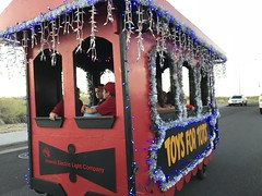 Hawaii Electric Light at the Kailua-Kona Community Christmas Parade - December 9, 2017: Kids in the Toys for Tots train car