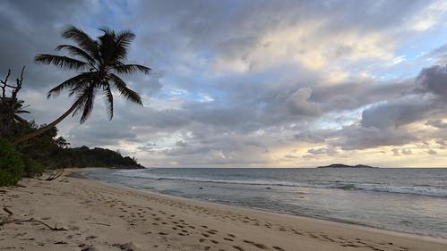 seychelles island islands beach beaches tropical tropics sea seascape seaside ocean palm tree trees cloud clouds landscape paradise paul knipe pskpix psk pix indian anse grand kerlan praslin