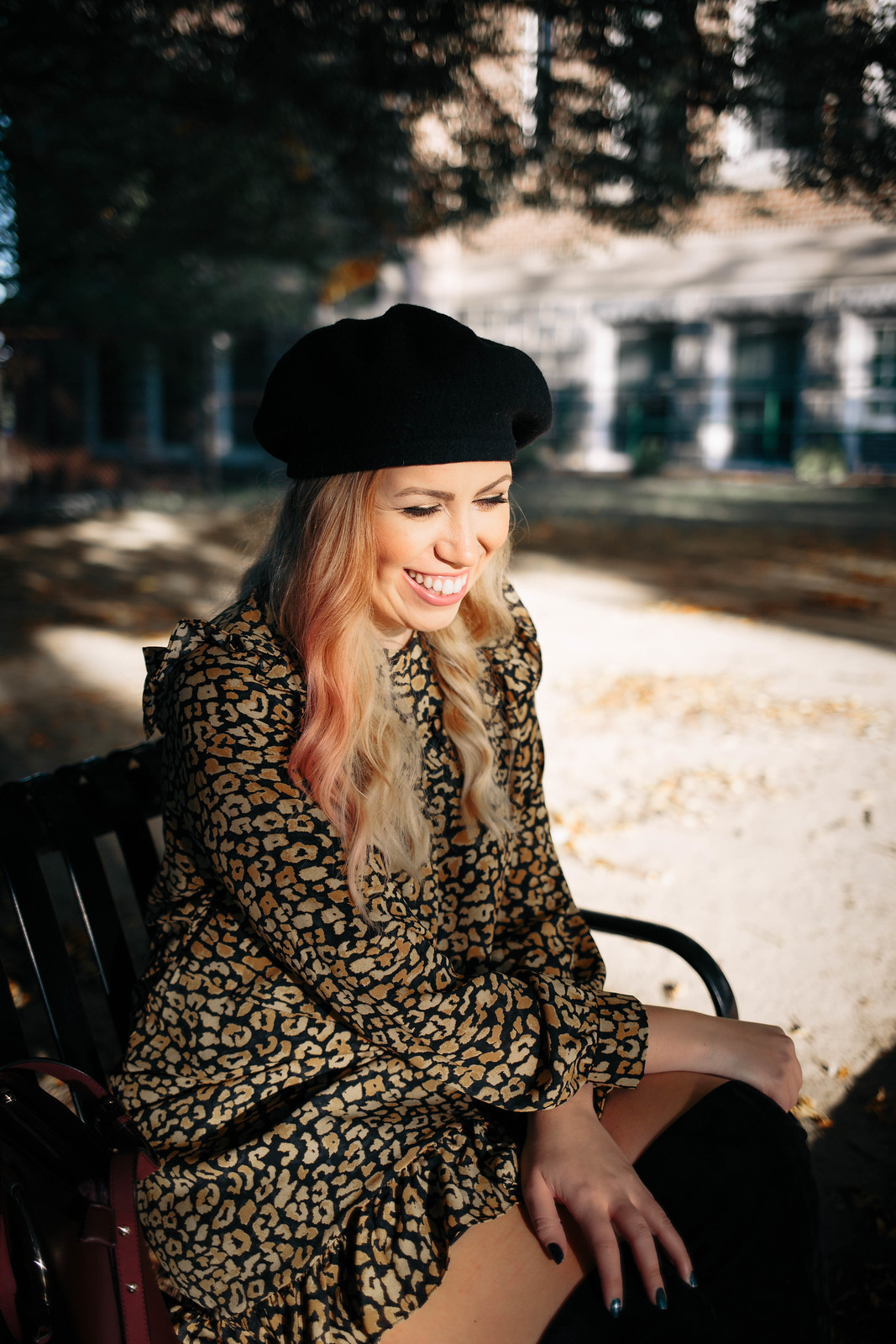 Jackie Giardina Laughing Blogger Fun Photoshoot Black Beret