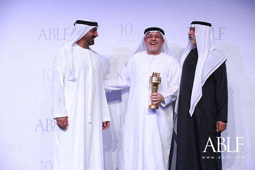 H.E. Hussain Jassim Al Nowais, Chairman, Waha Capital, and Chairman, Khalifa Fund for Enterprise Development, UAE, receiving the ABLF Lifetime Achievement Award from H.H. Sheikh Nahayan Mabarak Al Nahayan, Cabinet Member and Minister of Tolerance, UAE
