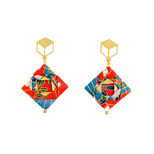 Origami Mosaic Earrings by Mayumi Origami