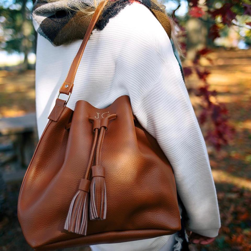 Marleylily Monogrammed Bucket Bag