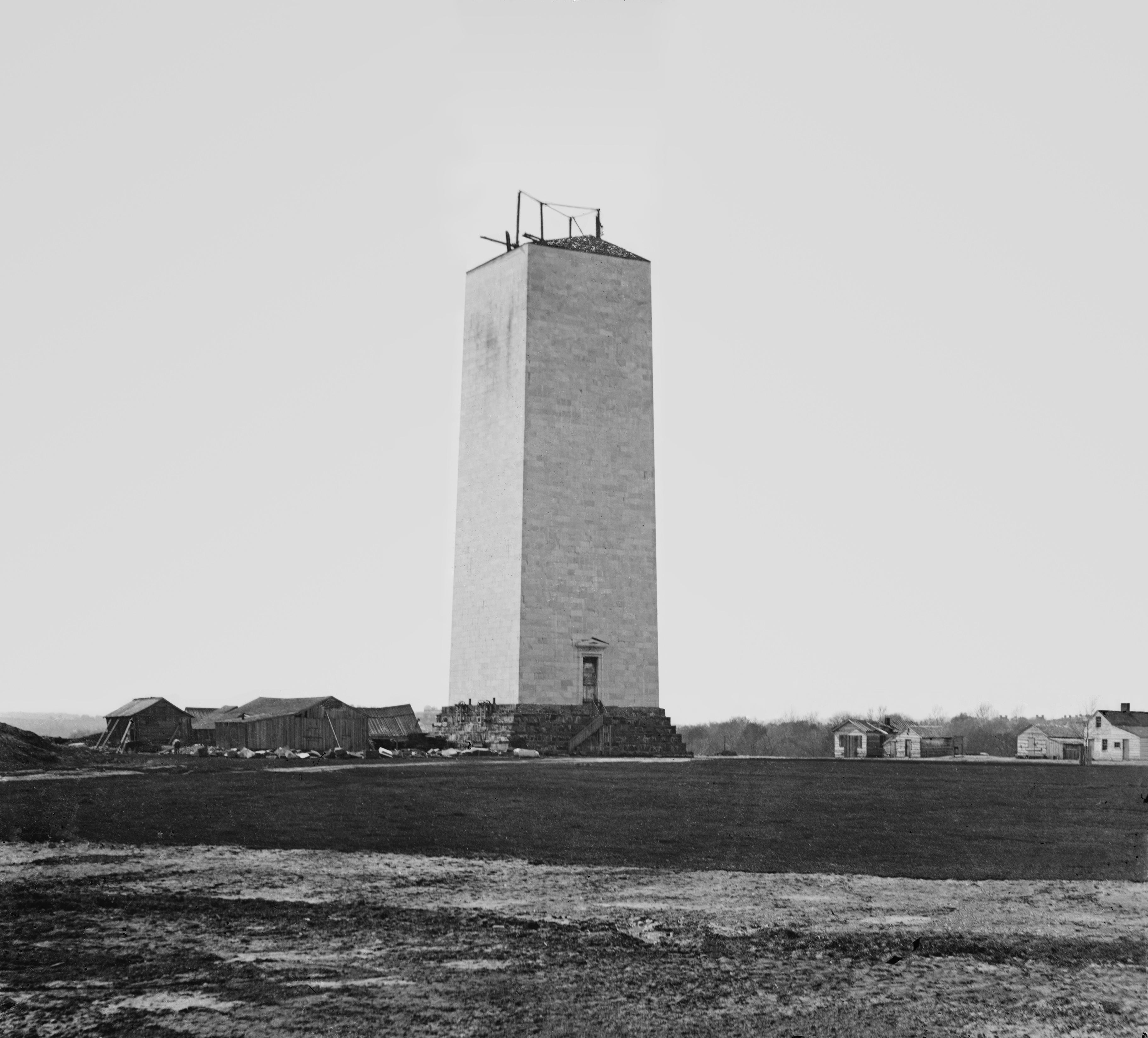 The unfinished Washington Monument photographed by Matthew Brady, circa 1860.