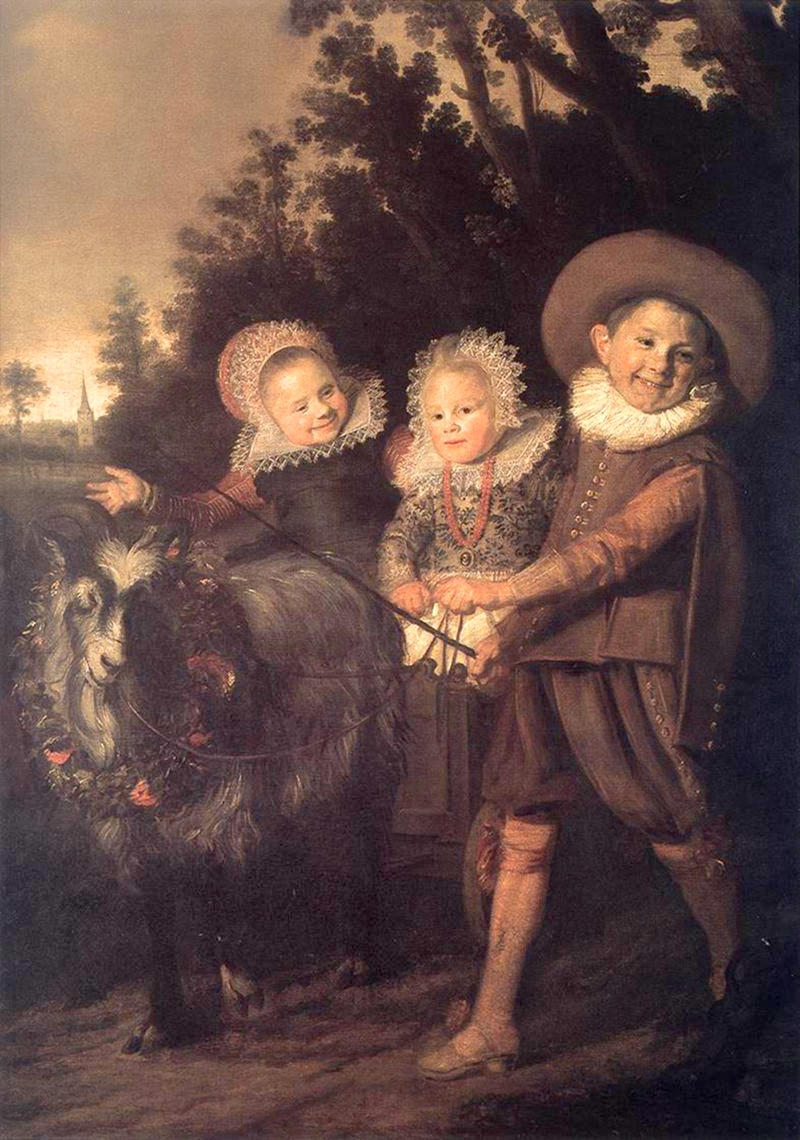 Three Children with a Goat Cart by Frans Hals, c. 1620