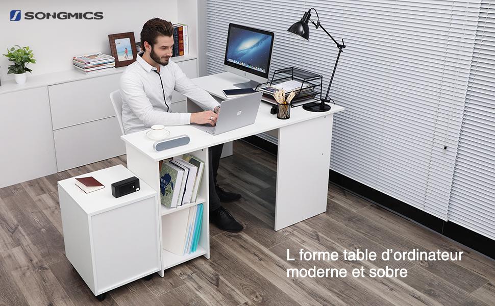 Songmics bureau informatique avec tablette coulissante pour