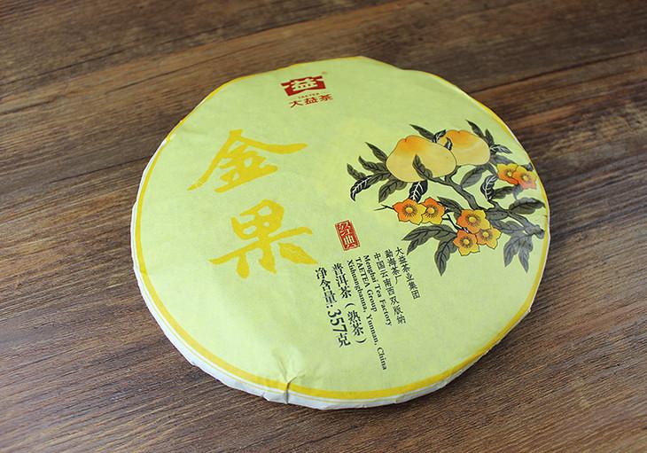 Free Shipping 2016 TAE DaYi JinGuo Golden Fruit Cake 357g China YunNan MengHai Chinese Puer Puerh Ripe Tea Cooked Shou Cha Premium