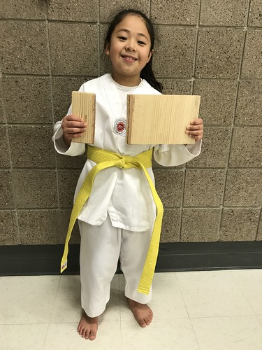 Ms. Luna Hernandez-Tiongson performed well this evening during her color belt test. Congrats Ms. Luna on your yellow belt promotion!
