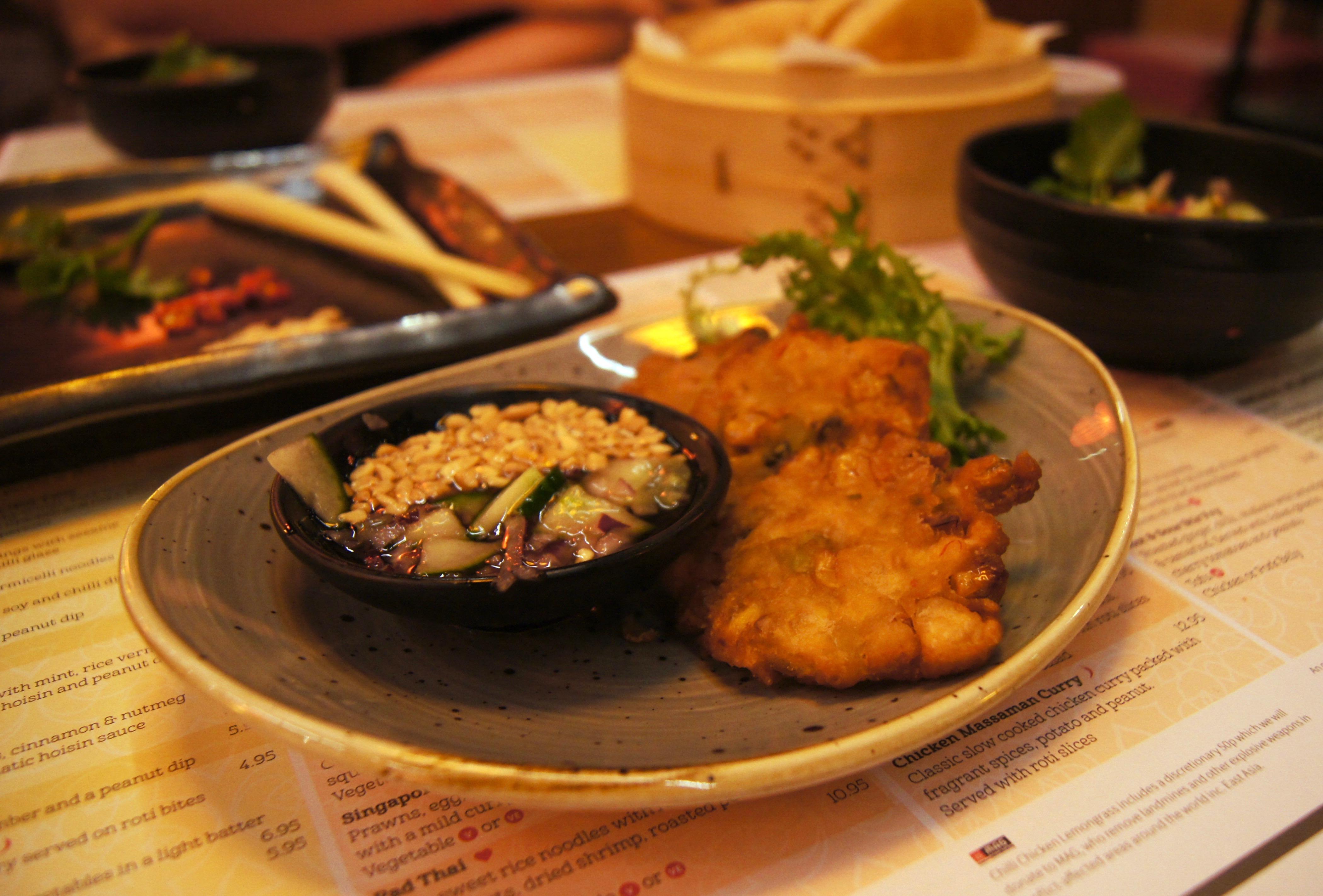 Tampopo Trafford Centre - corn fritters & thai salad