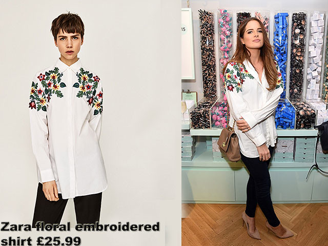 Zara floral embroidered white shirt, Zara floral embroidered white loose fitting shirt, Birchbox's first UK pop-up store launch party, Loose-fitting shirt, nude heels, Zara-floral-embroidered-shirt