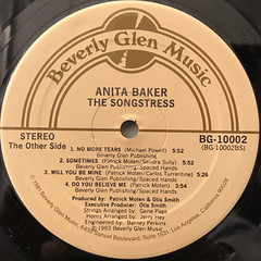 ANITA BAKER:THE SONGSTRESS(LABEL SIDE-B)