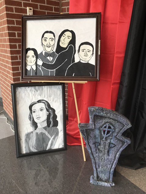 The Addams Family Play front lobby display at THS.