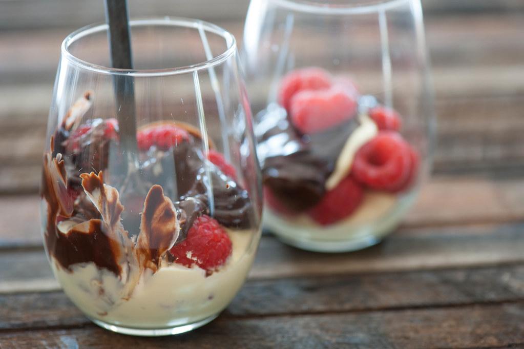 Raspberries & Cream with Quick Chocolate Sauce-3
