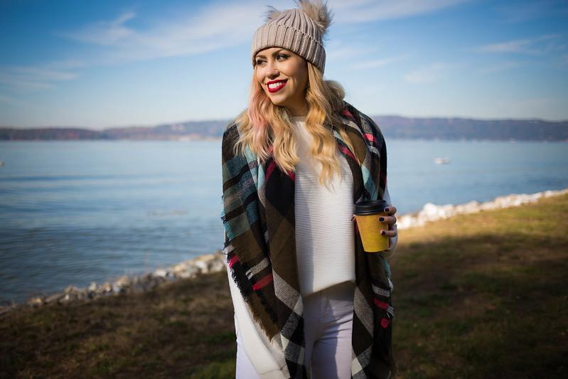 Hudson Riverfront Pom Pom Beanie Fall Festive Outfit Green Plaid Scarf