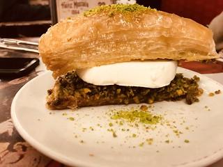 Baklava with ice cream at Hafiz Mustafa in Istanbul