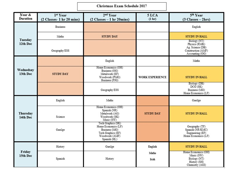 Christmas Exam Timetable 2017