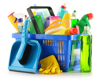 Shopping basket with detergent bottles