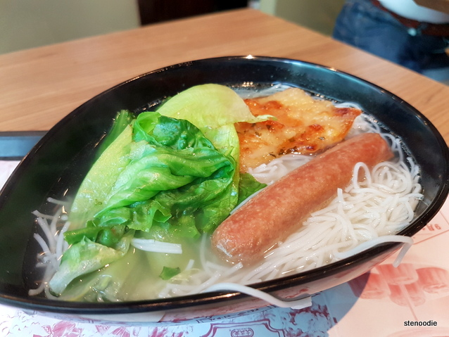 Vermicelli with Vegetable, Chicken Fillet and Sausage in Soup