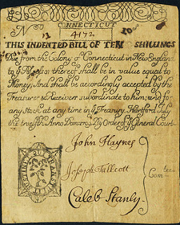 Colony of Connecticut July 12, 1709 3 Shillings Raised to 10 Shillings note front