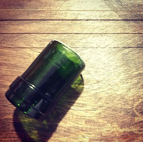 DIY stubby bottleneck slide from a wine bottle.