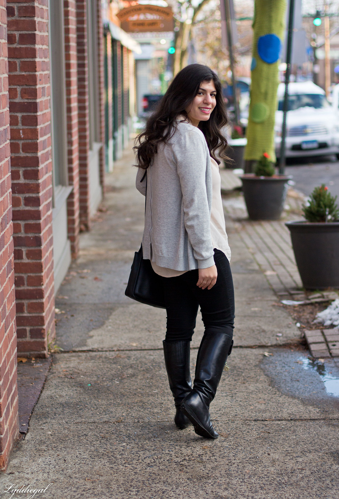 blush silk top, black jeans, boots, grey cardigan-12.jpg