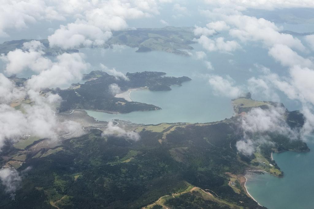 Flying past Waiheke Island