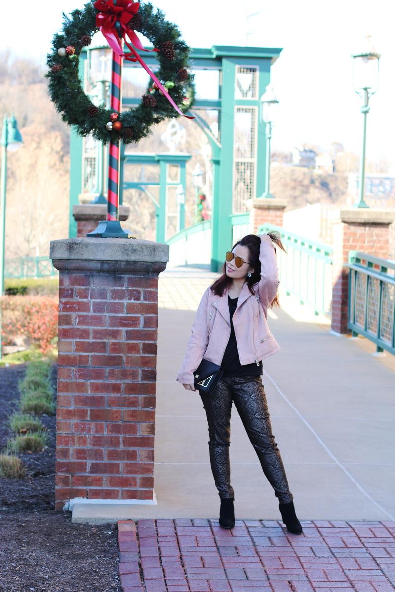 blush-jacket-membersonly-black-tee-versona-metallic-pants-3