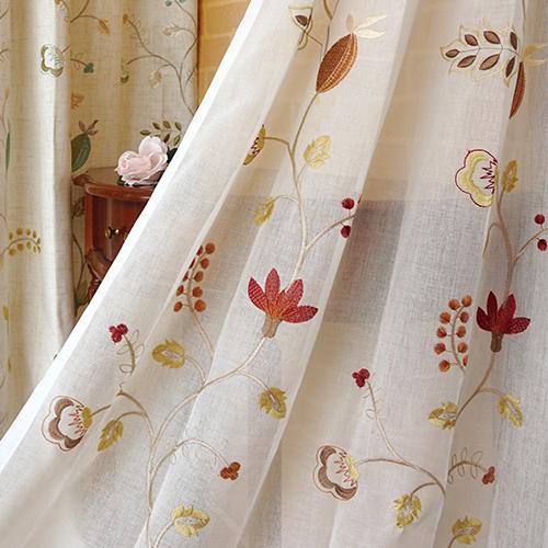 秋日果實 盛開花卉 繡花 無接縫窗紗布 展覽場裝飾佈置 DB2490013