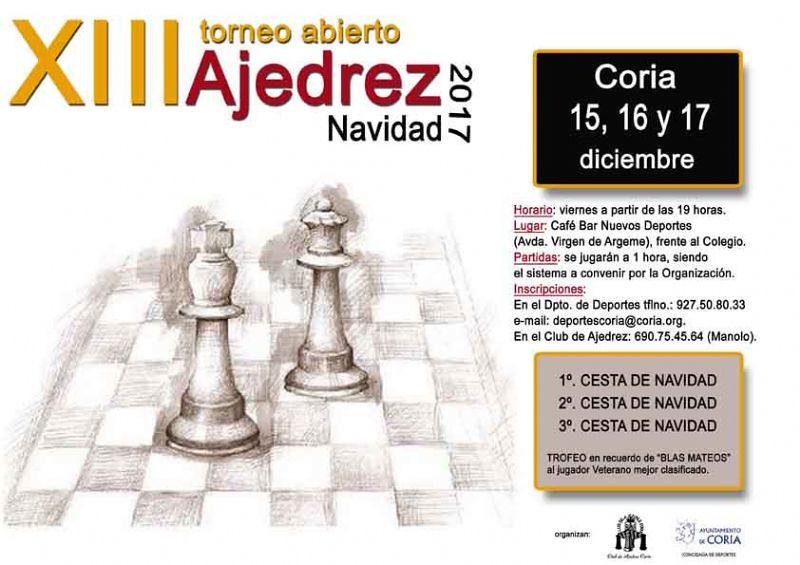 El Club Ajedrez Coria en colaboración con el Ayuntamiento de la ciudad, organiza un año más el Torneo de Ajedrez con motivo de la Navidad y que cumple la XIII edición.