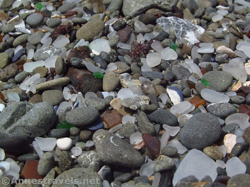 The dry glass and stones at Glass Beach, California, aren't as impressive as the wet ones, but are still pretty