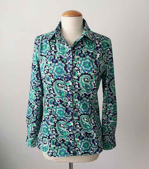 Green paisley shirt front view