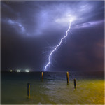 12. November 2017 - 20:08 - A single bolt out over the Indian Ocean, above the remains of the old Ammo jetty at Coogee beach, south of Fremantle, Western Australia
