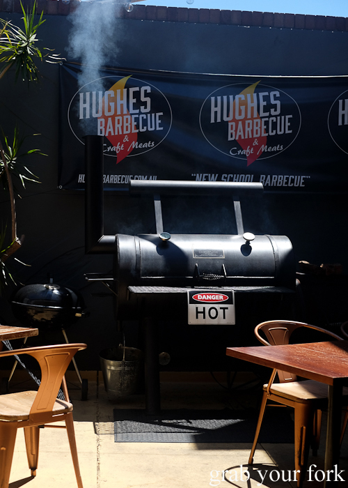 Smoking barbecue at Hughes Barbecue at The George Hotel in Waterloo Sydney